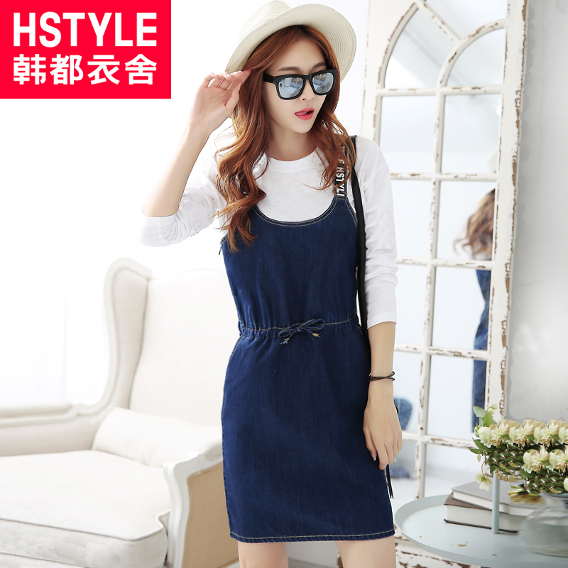 Korean homes have clothes 2016 spring korean version of the new women solid color elastic waist sleeveless spring denim strap dress