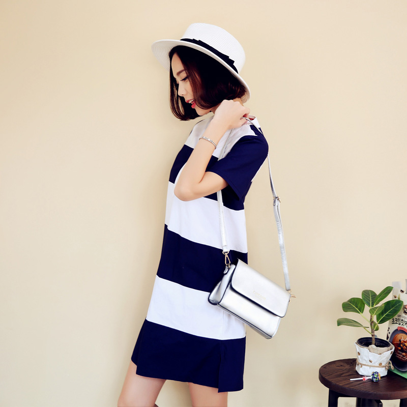 dfe893d2904 Get Quotations · Korean homes have clothes skirt 2016 korean female summer  sexy v-neck blue and white