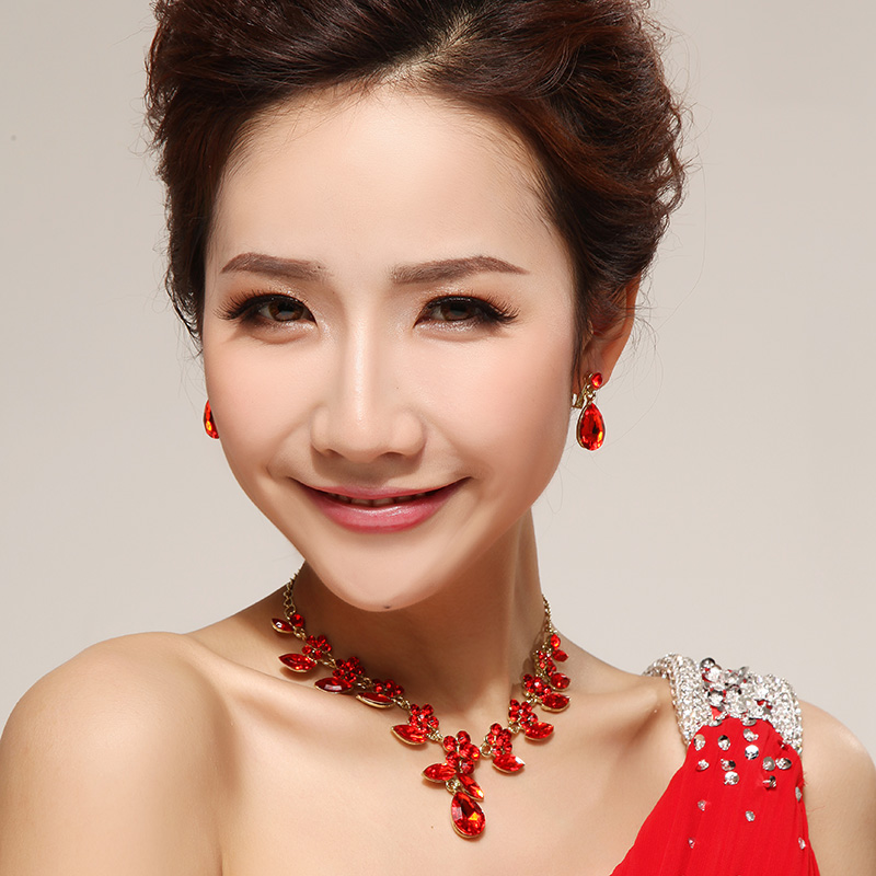Korean jewelry diamond bridal jewelry headdress necklace earring piece suit wedding dress wedding accessories jewelry 43