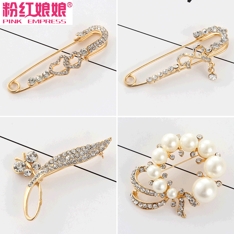 Korean jewelry pearl brooch pin female coat cardigan wool shawl scarf buckle clothing accessories corsage brooch pin buckle fashion