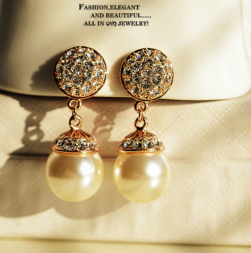 Korean jewelry upscale full round pearl diamond without pierced ears padded ear clip earrings ear clip earrings female bride nail 0264
