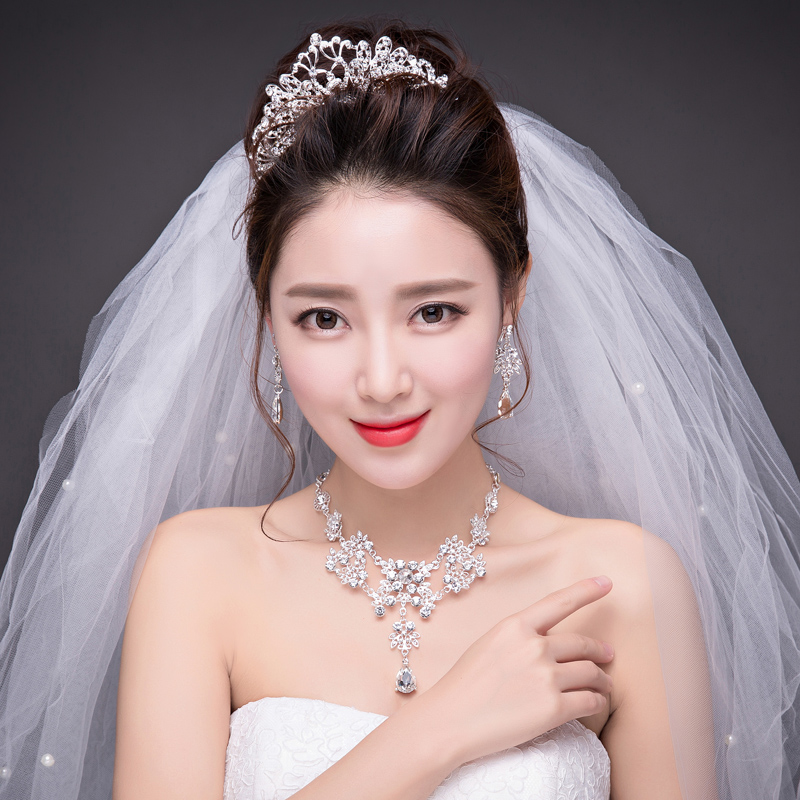 Korean princess bride wedding crown swan rhinestone bridal headdress wedding jewelry necklace earrings three sets