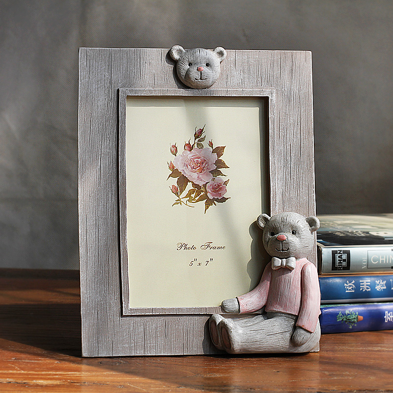 Korean series 6 7 8 7-inch photo frame cute cartoon bear resin ornaments painted frame swing sets creative photo frame photo frame