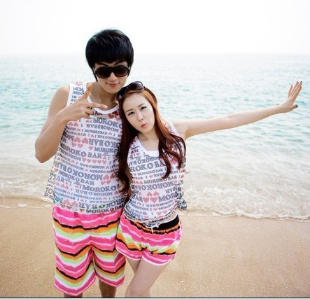 Korean travel essential korean version of casual pants rainbow stripes couple beach pants lovers pants for men and women