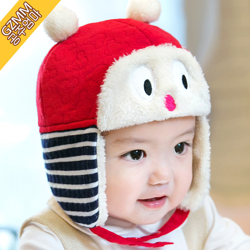 Korean version of the 1-2-4 years old baby winter hat baby hat children lei feng cap plus velvet ear hat winter hat hedging