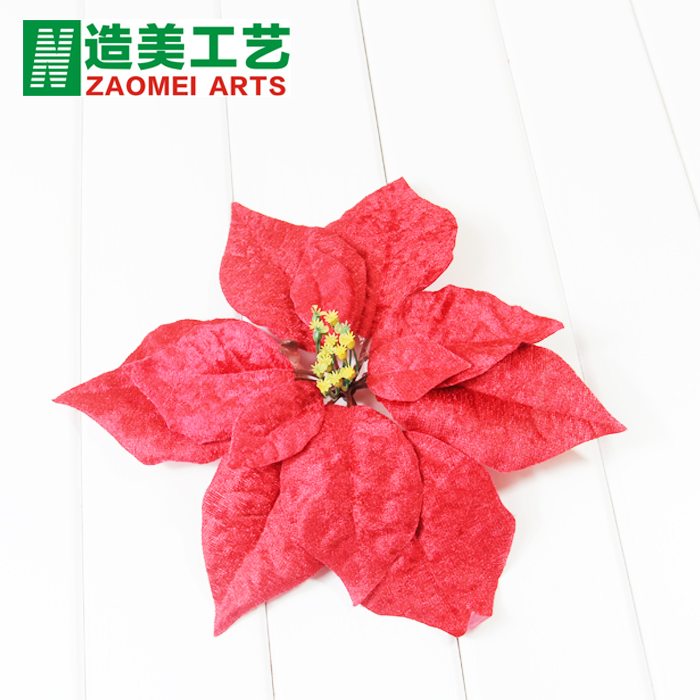 Korean version of the 20CM red diamond velvet christmas flower christmas tree decorations decorative artificial flowers