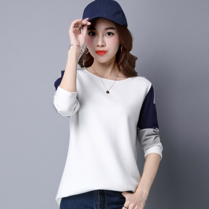 Korean version of the autumn sweater female loose sweater female hedging short paragraph bottoming sweater female autumn and winter hedging student thin