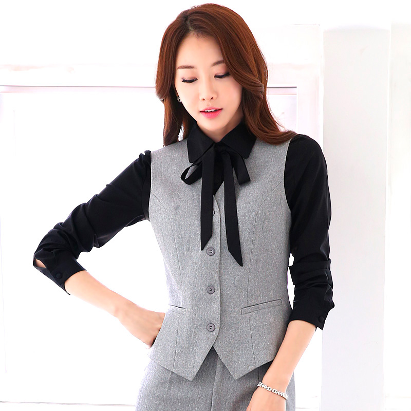Korean version of the black vest vest tooling wear work clothes large size women fall and winter sleeveless horse clip interview ms. ol dress