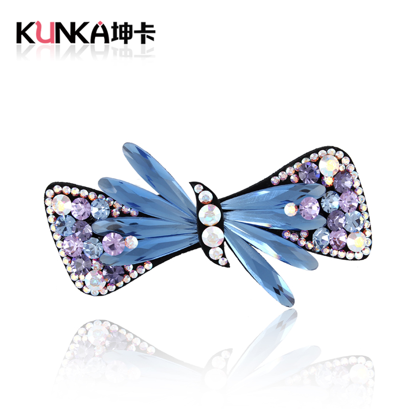 Korean version of the candy color inlay simple rhinestone crystal hairpin side clip top clip ponytail clip hairpin spring clip top folder cross clip hair accessories