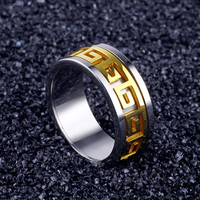 Korean version of the classic wall grain titanium steel men's rings fashion jewelry ring ring influx of retro fashion personality