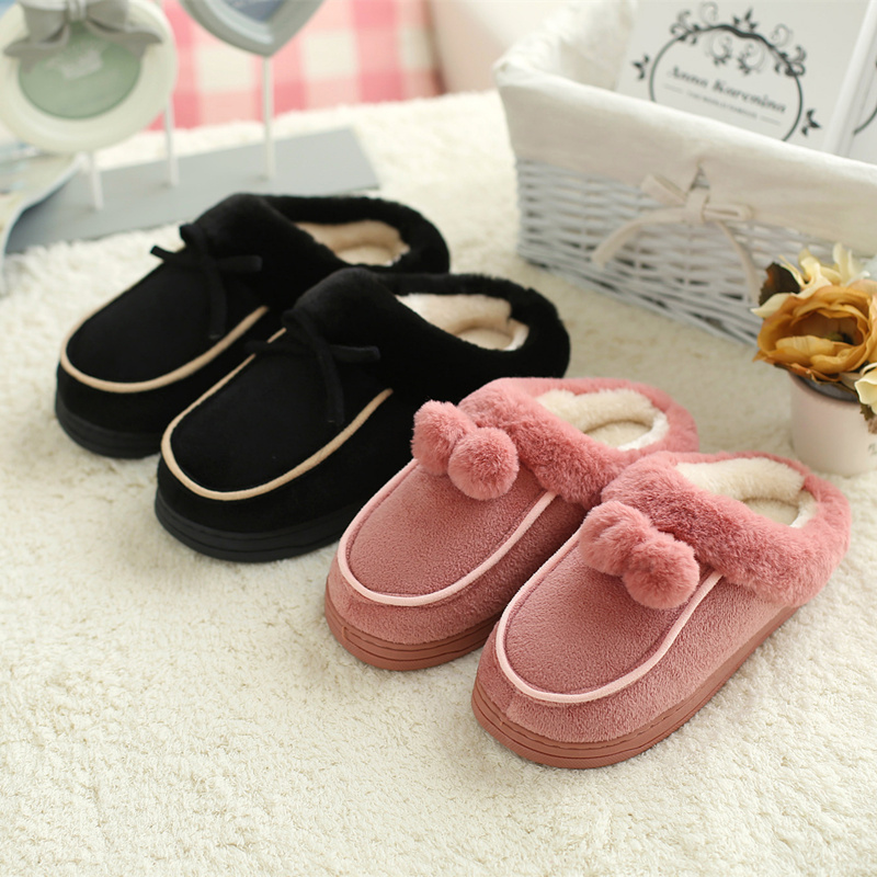 Korean version of the cotton slippers cute female winter month slip floor home interior home slippers couple warm wool slippers