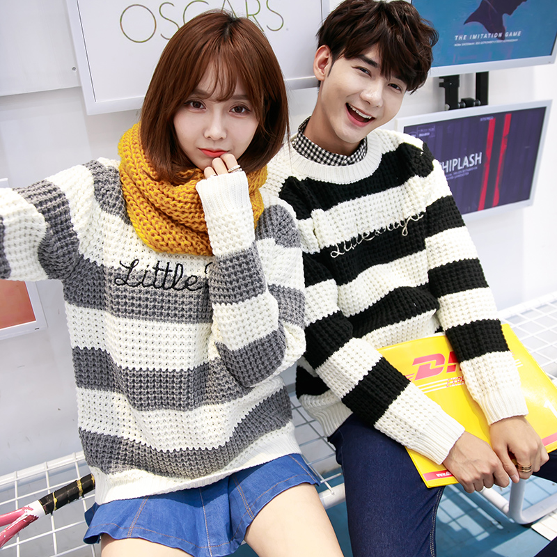 Korean version of the fall and winter lovers casual round neck pullover sweaters for men and women coarse lines retro striped knit sweater
