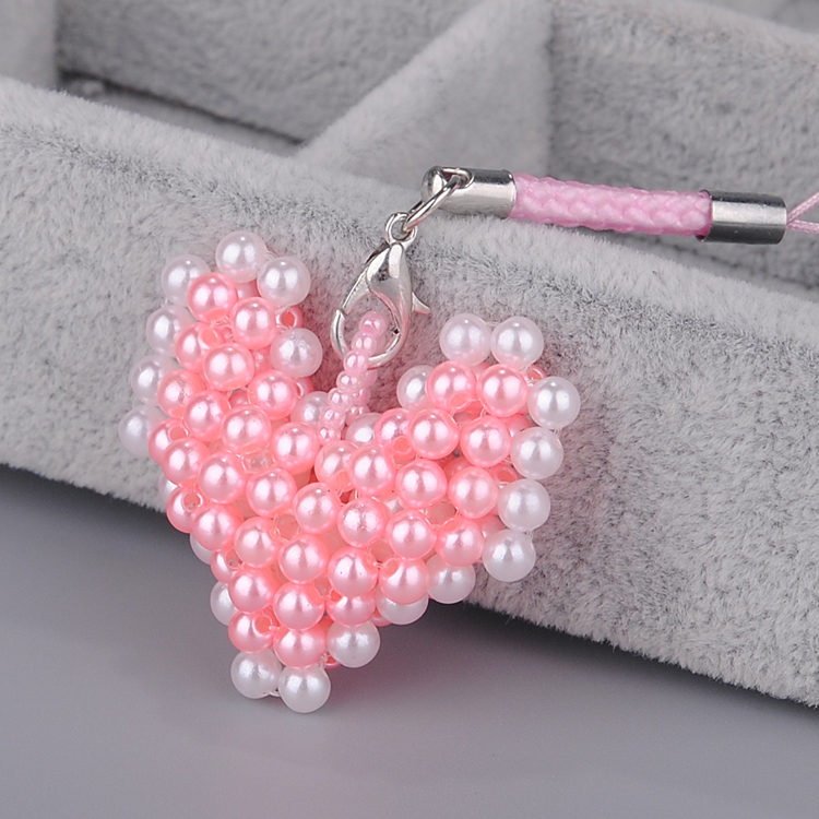 Korean version of the heart pearl mobile phone chain pendant birthday gift diy handmade beaded jewelry material tutorial package