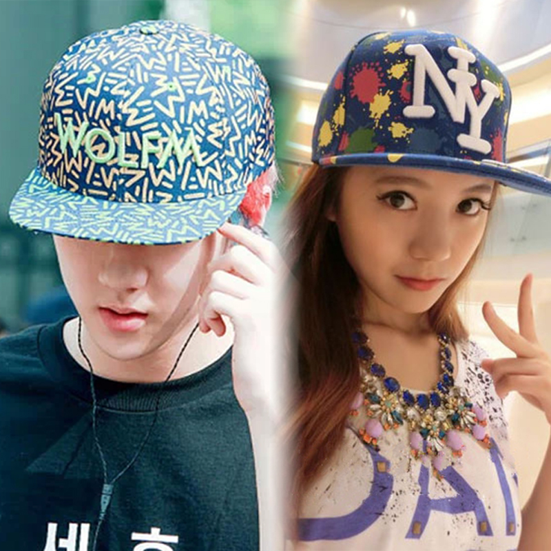 Korean version of the influx of men and ladies hat flat brimmed hat hip hop graffiti color duck tongue cap baseball cap hat printing korean version of the myth