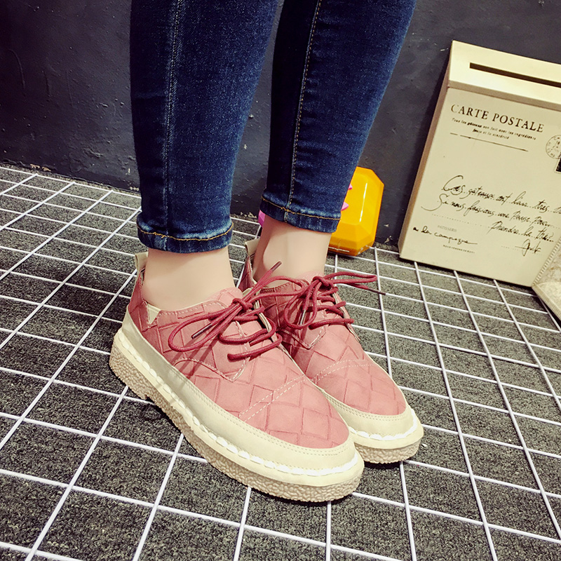 Korean version of the lace round student shoes 2016 spring and autumn new fashion shoes flat shoes single shoes wild fashion shoes