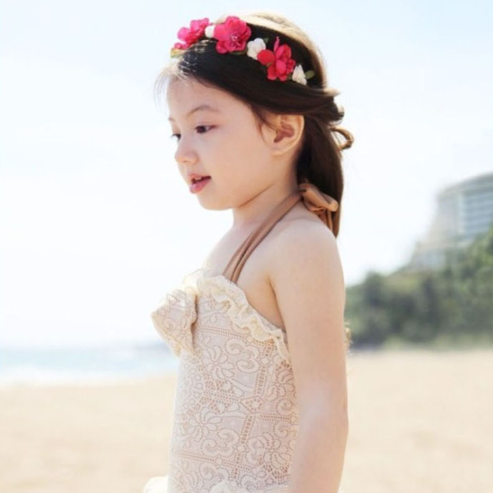 Korean version of the lace swimsuit girls swimsuit piece swimsuit children cute princess skirt piece swimsuit girls swimsuit hooded beach