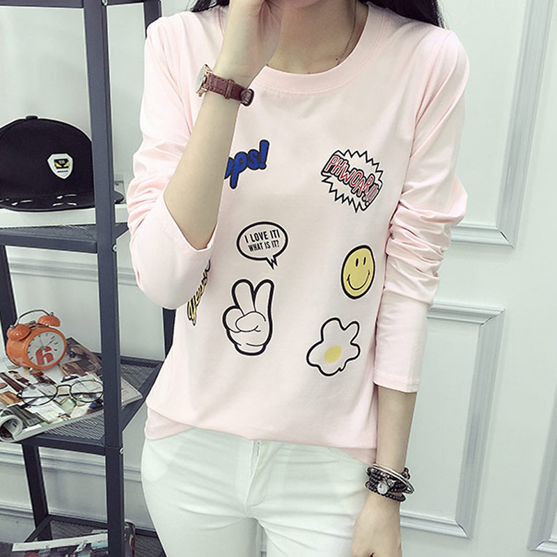 Korean version of the lovely autumn printing loose long sleeve t-shirt college wind girls casual student bottoming shirt was thin sweater