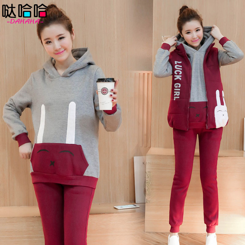 Korean version of the maternity winter new casual sportswear suit autumn long sleeve sweater autumn and winter plus velvet three sets