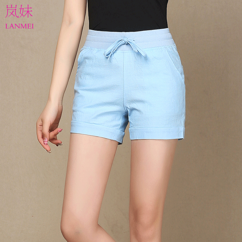 Korean version of the new elastic waist cotton shorts female 2016 summer loose big yards candy colored casual pants slim pants