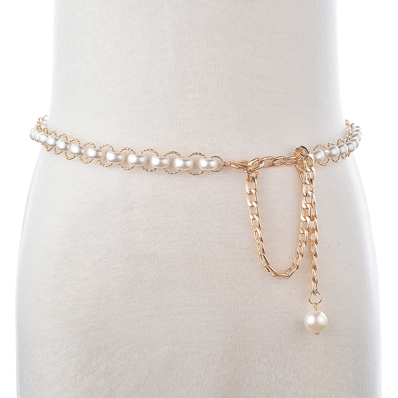Korean version of the new ms. sweet imitation pearl beaded waist chain belt female korean simple thin leather belt decorated with a skirt