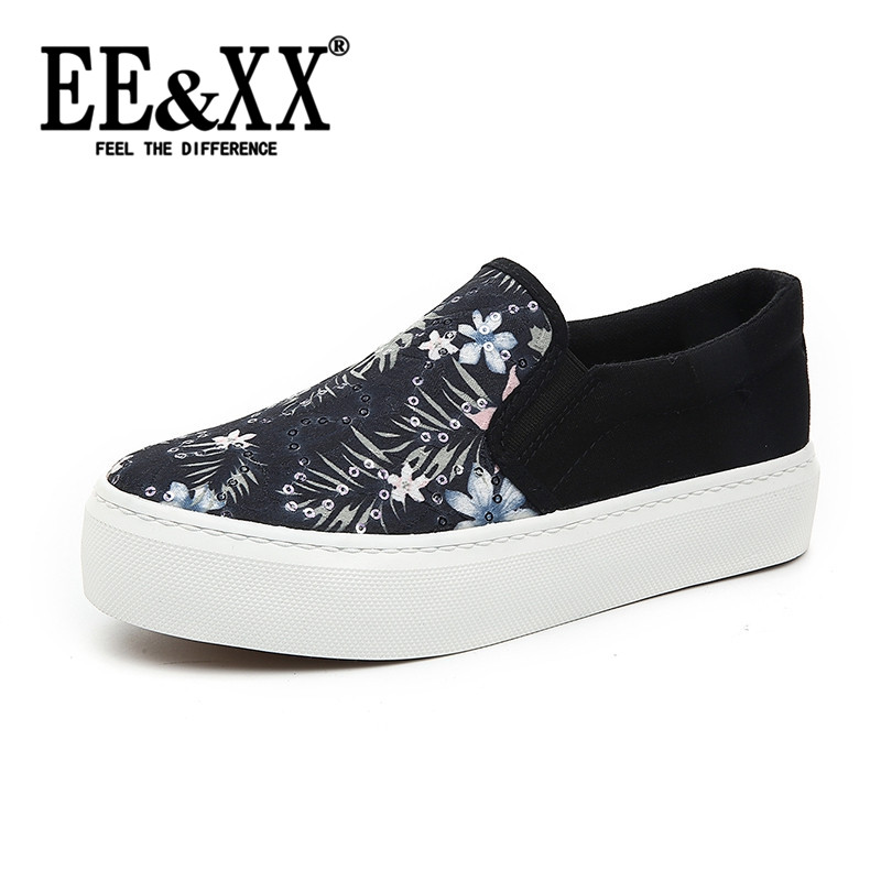 Korean version of the new stylish and comfortable EEXX2016 floral canvas shoes thick crust muffin sets foot lazy shoes 8961