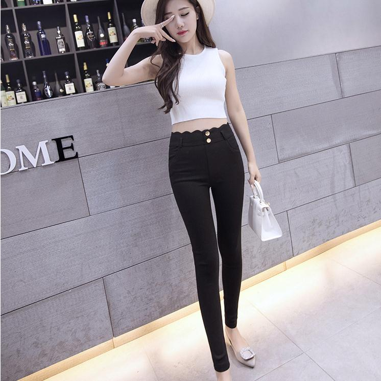 Korean version of the pencil pants female trousers 2016 spring and summer thin section slim korean student was thin casual pants feet simple