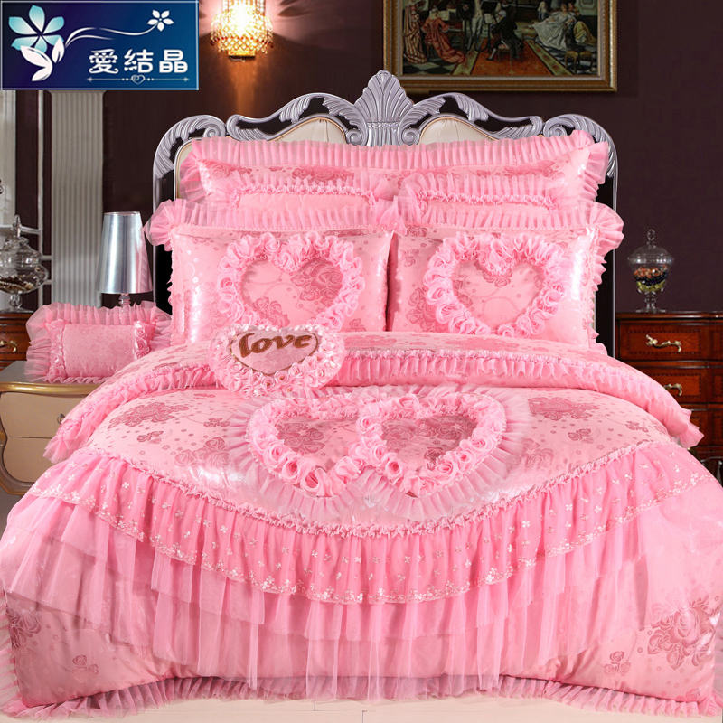Korean version of the princess style lace bed skirt a family of four red wedding pink and purple wedding six eight 1.8/m bedding