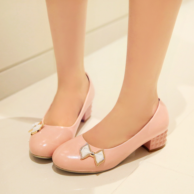 Korean version of the round shallow mouth thick with the heel shoes women shoes small fresh sweet bow low to help single shoes princess shoes