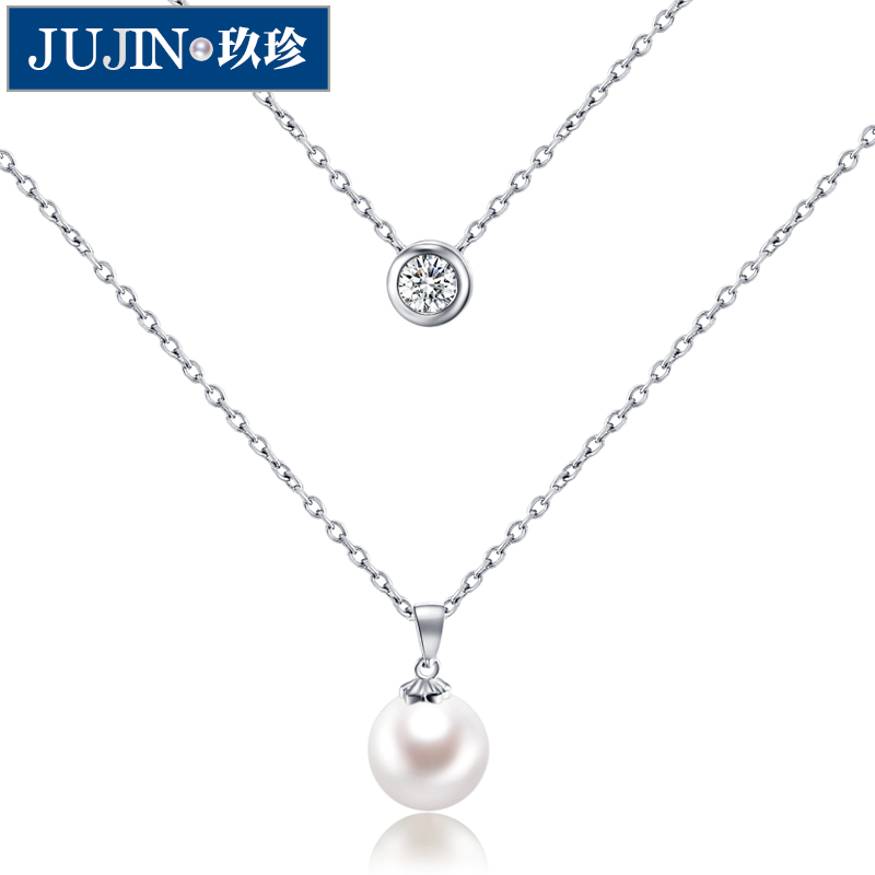 Korean version of the simple double zhen jiu 9- 10MM perfect circle s925 silver natural freshwater pearl necklace female clavicle chain pendant