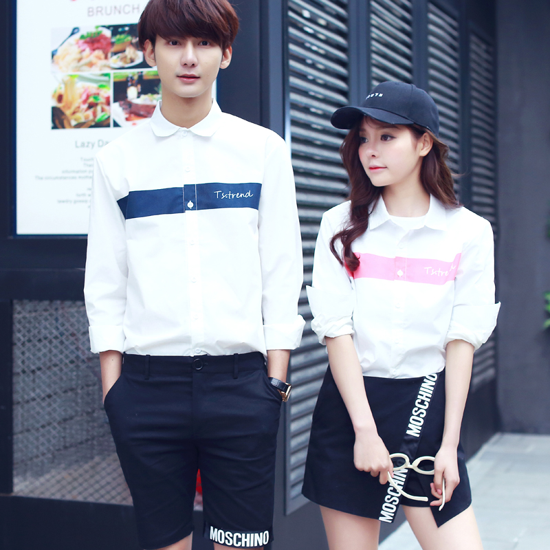 Korean version of the spring and summer washed denim shirt long sleeve shirt men tide men's shirt printing inch shirt slim couple models