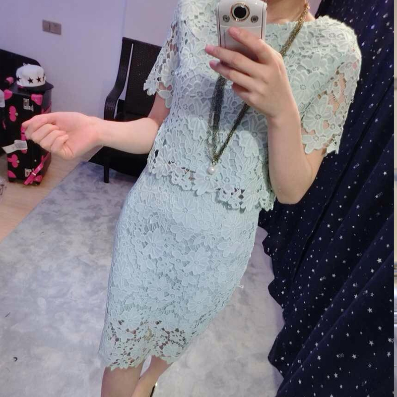 Korean version of the static silk 2016 summer influx of european goods korean slim lace stitching package hip skirt dress women new white