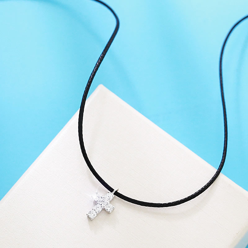 Korean version of the thin female models s925 silver cross necklace choker necklace collar neckband neck jewelry harajuku style