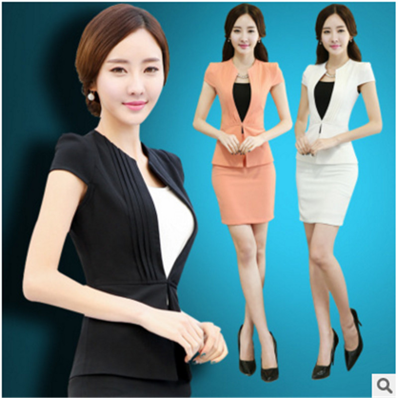 Korean version of the wear skirt suit suit female spring and summer short sleeve slim company career skirt suit overalls