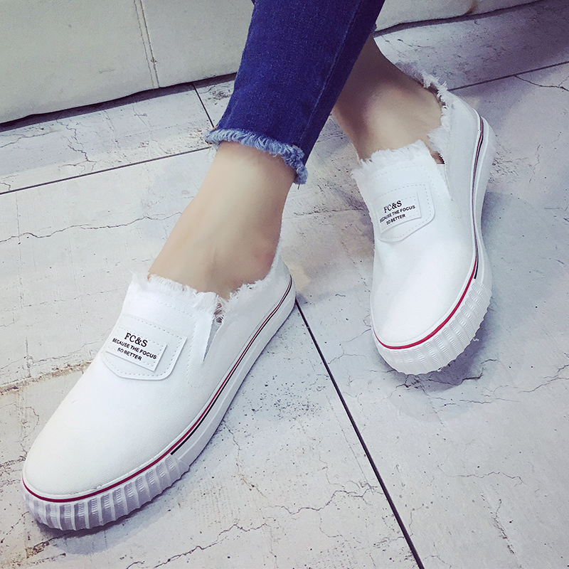 Korean version of the white canvas shoes women shoes white shoes women shoes lazy summer shoes student loafers shoes a pedal shoes ball shoes Women's shoes