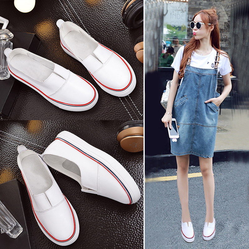 Korean version of the white leather shoes women 2016 summer and fall carrefour shoes women shoes set foot shallow mouth casual flat bottom soft bottom couple Shoes