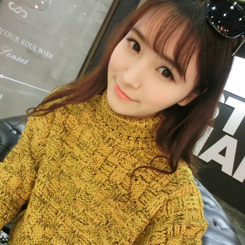 Korean winter models thick loose sweater with high collar winter coarse lines hedging sweater female korean version of the fall and winter thick sweater woman