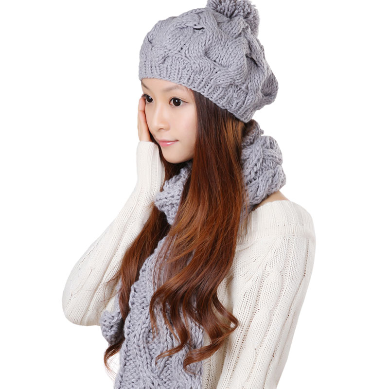 Korpi korean version of the influx of autumn and winter hat scarf piece female one warm white suit kit piece suit piece suit 0236