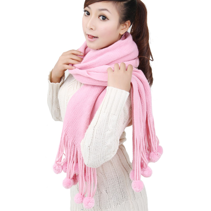Korpi korean version of the influx of new solid color wool scarf female spring fall and winter long section of students warm pink scarf 0172