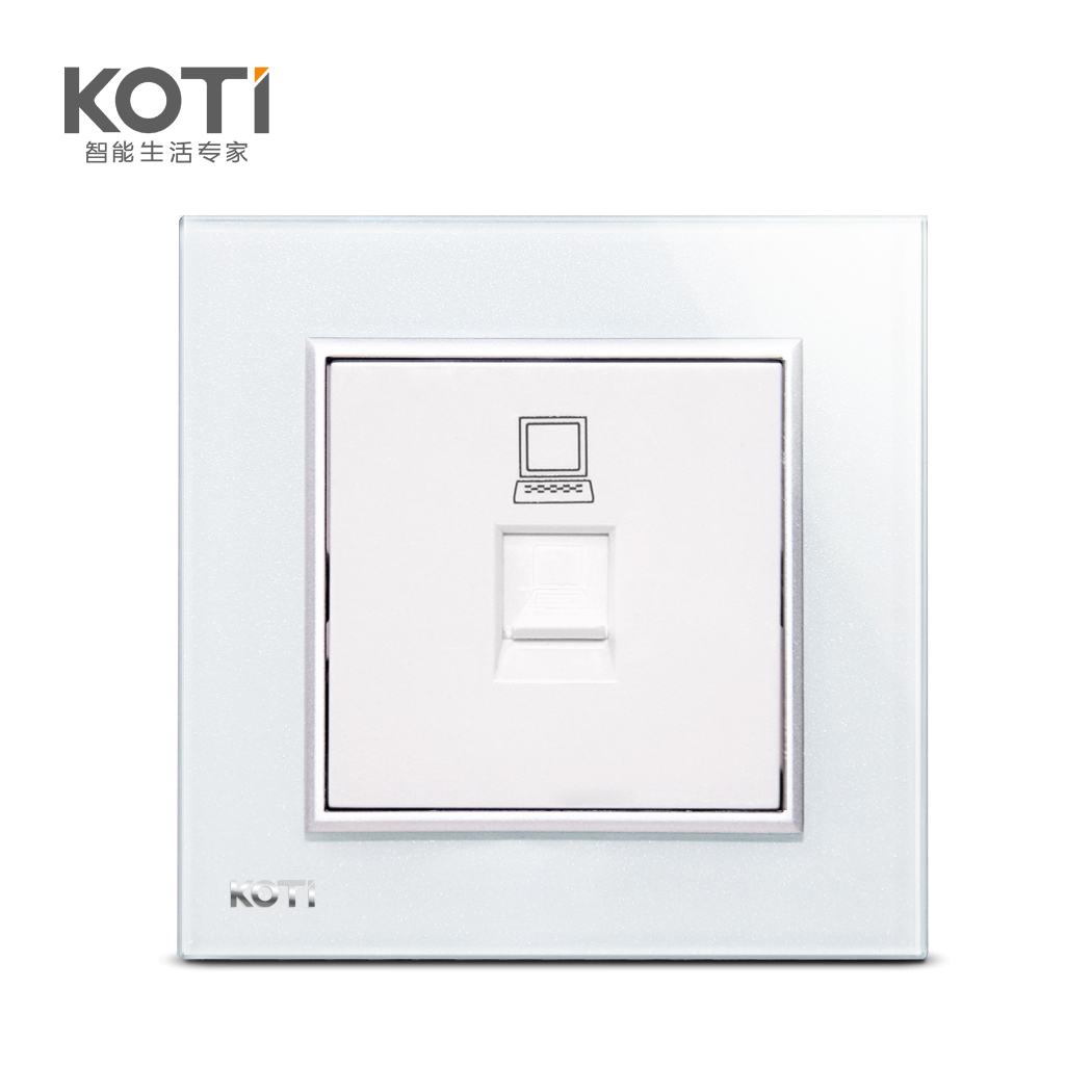 Koti single computer socket single phone jack switch all the way to the two or three pole socket crystal glass panel