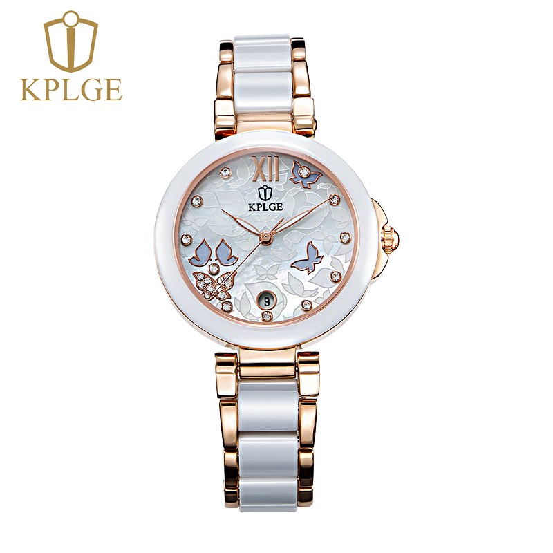 Kplge genuine female white ceramic watches ladies watches fashion watch quartz watch female table fashion waterproof watch