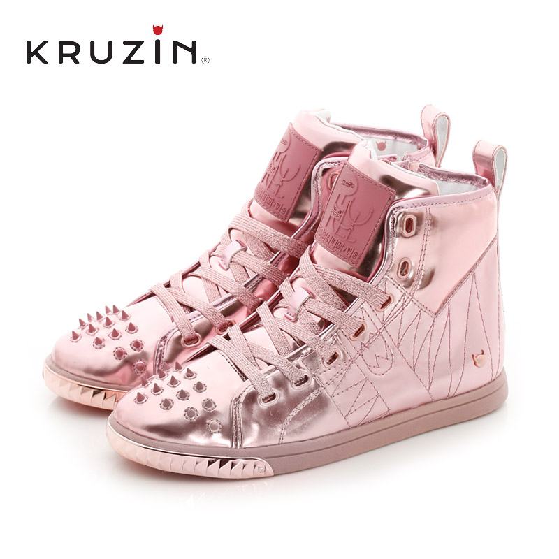 KruZin2016 spring and summer casual shoes women in europe and america rose gold fashion female models lace high tide flat shoes
