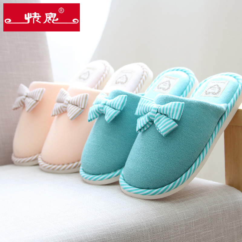 Kuailu autumn and winter bow cotton slippers home slippers indoor slippers winter warm cotton slippers thick crust couple of men and women