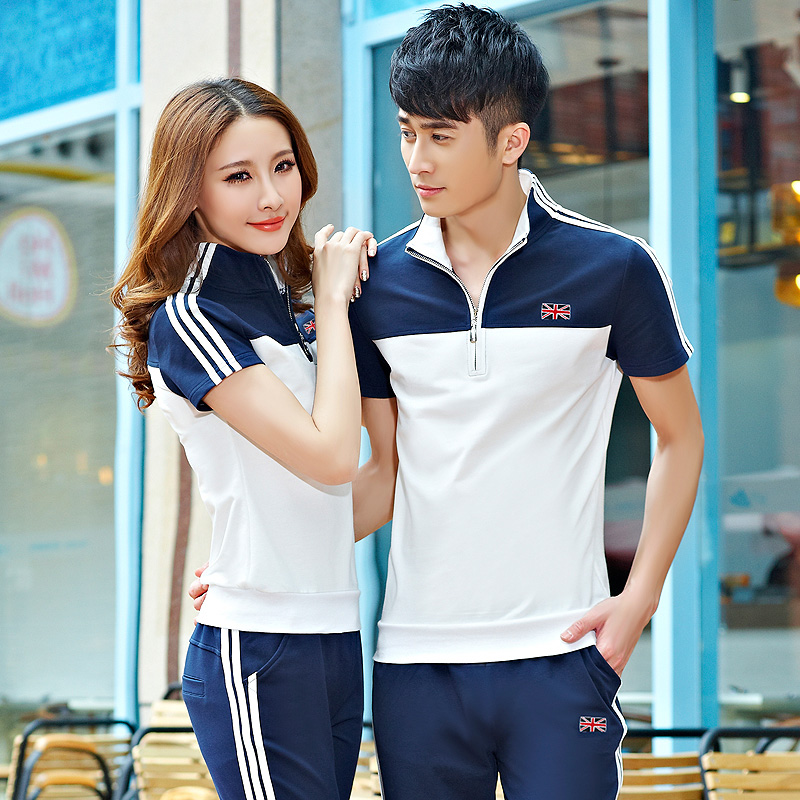Kui us 2016 summer new couple track suit trousers sportswear short sleeve suit men leisure suit female summer