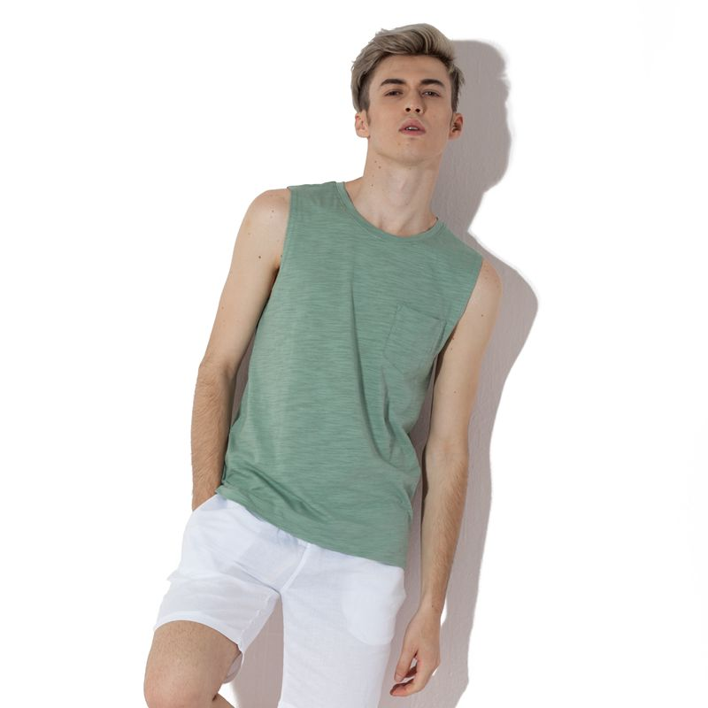 Kuiyuan sleeveless t-shirt men's short stature small yards les handsome men's t sleeveless vest neutral lovers bf wind