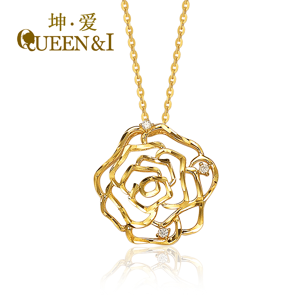 China simple gold pendants china simple gold pendants shopping get quotations kun love k gold pendant jewelry korean version of the simple hollow ms new roses aloadofball Images