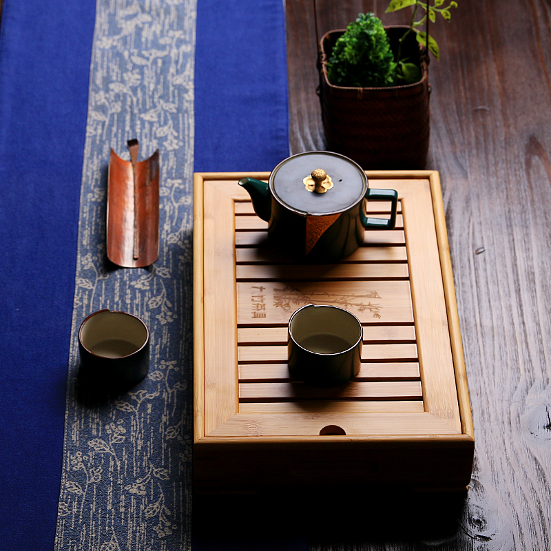 Kung fu tea tray storage/drawer drain bamboo tea sea bamboo tea tray size number optional