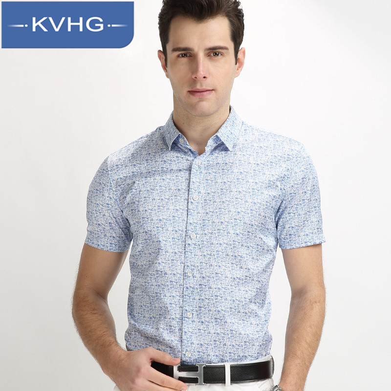 Kvhg 2016 summer new loose and comfortable middle-aged father loaded iron floral square collar short sleeve shirt tide 3705