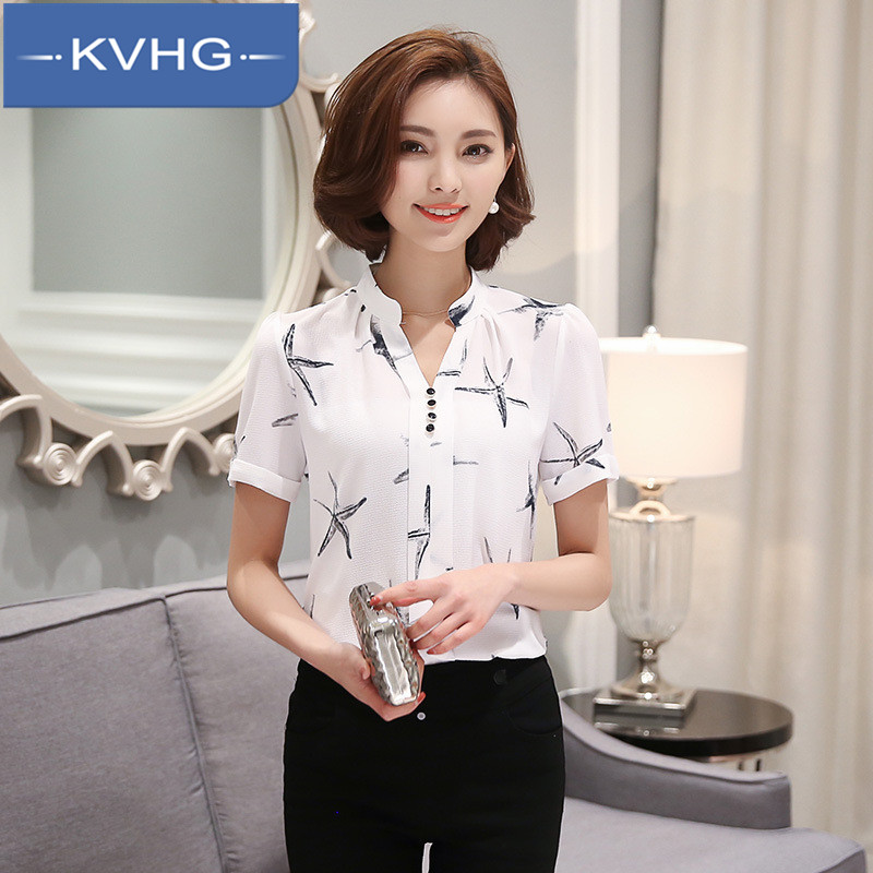 Kvhg 2016 summer women new elegant lady was thin printed chiffon short sleeve shirt bottoming shirt tide 1225