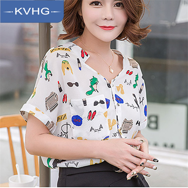 Kvhg crooner hedging women 2016 summer new v-neck was thin short sleeve shirt printed chiffon shirt female 4650