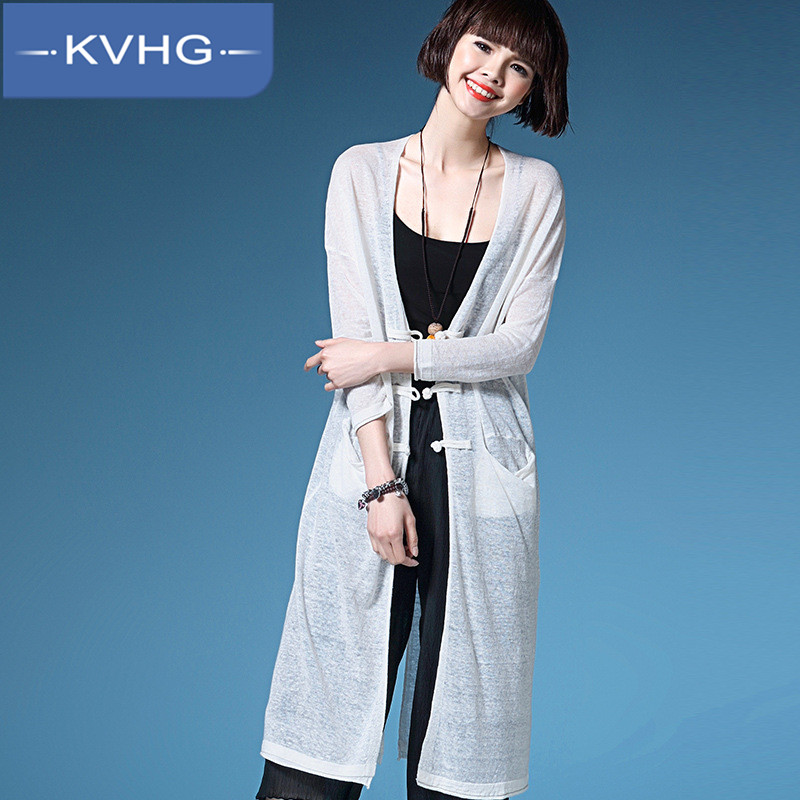 Kvhg ladieswear fashion solid color cardigan thin section 2016 korean version of slim was thin and long sections ladies sweater 5223